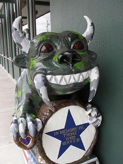 photo of our Hodag, the City of Rhinelander Mascot, honoring past and present military personnel